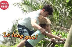 """Con gái Huy Khánh """"run cầm cập"""" khi lần đầu đi cầu khỉ"""