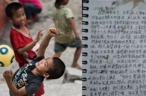 Dòng thư tuyệt mệnh nghẹn ngào nước mắt của cậu bé Trung Quốc: