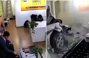Trung Quốc: Nữ tài xế chết thảm sau khi đâm sập tường văn phòng làm việc cùng tầng bãi đỗ xe