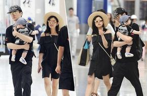 Trần Hiểu và Trần Nghiên Hy khoe con trai đáng yêu tại sân bay