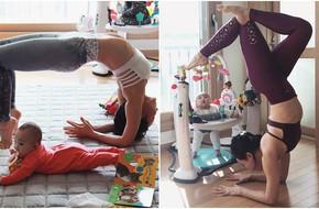 Bà mẹ xinh đẹp khiến cộng đồng mạng ngả mũ thán phục khi vừa tập yoga vừa trông con