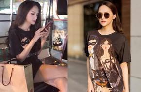 Giản dị như Hoa hậu Hương Giang, sau ngày đăng quang vẫn mặc lại áo phông cũ