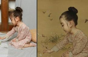 Ông bố biến con gái thành tiểu tiên nữ cổ trang trong tranh khiến nhiều người nể phục