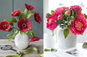 2 cách làm bình hoa giấy sắc đỏ trang trí nhà rực rỡ