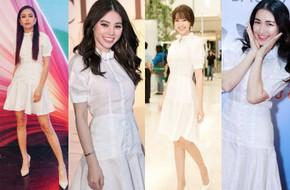 Thời đại của 'gái ngoan' đã đến? 1 chiếc đầm trắng kín như bưng mà có đến 6 nàng chen nhau mặc!