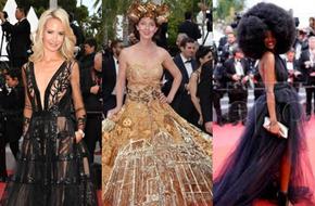 Gần ngày bế mạc nhưng thảm đỏ Cannes vẫn tiếp tục những màn khoe ngực, chơi trội bằng váy áo cồng kềnh, tóc