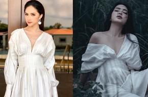 HH Hương Giang và Châu Bùi cùng diện 1 kiểu váy: người đẹp kiểu ma mị hoang dại, người lại ngọt ngào kiêu sa
