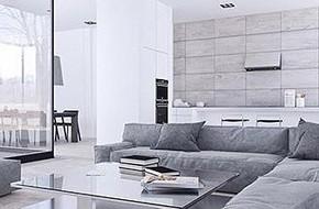 Thiết kế nội thất màu trắng và xám trong phong cách tối giản hiện đại