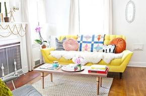 Sofa màu vàng cho phòng khách tỏa nắng