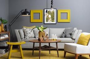 Cho phòng khách nét hiện đại và sang trọng tuyệt đối với bộ đôi vàng – xám