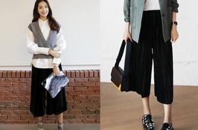 Đông năm nay, ngoài quần legging thì các nàng đừng quên sắm quần culottes nhung