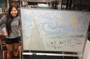 Cô gái gốc Việt vẽ tranh bằng chữ lên báo Mỹ