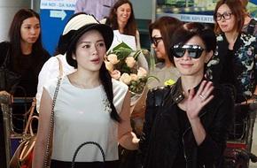 Xa Thi Mạn diện đồ ngầu xuất hiện tại sân bay Tân Sơn Nhất