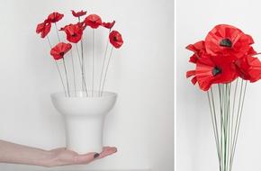 Tự làm chậu hoa giấy đỏ khoe sắc trang trí nhà đẹp tinh tế