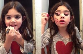 Cô bé xinh xắn làm tóc, trang điểm đủ bước 'như thật' gây sốt cộng đồng mạng