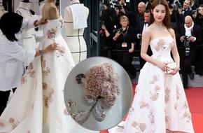 """Cận cảnh chiếc váy mất 550 giờ """"thêu đính"""" mà Lưu Diệc Phi mặc tại LHP Cannes 2016"""