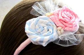 Hoa vải trang trí bờm tóc dễ thương