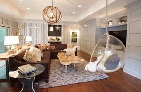 Trang trí phòng khách với ghế treo bong bóng cực xinh