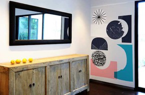 Trang trí tường nhà bằng hoạ tiết hình học đầy ấn tượng