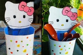3 bước đơn giản làm ống đựng bút Hello Kitty cho bé