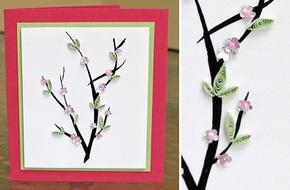 Tự làm thiệp hoa đào gửi cho người thân yêu nhân dịp Tết đến
