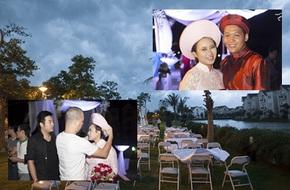 Đám cưới ngoài trời của Khánh Linh phải chạy mưa