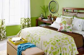 Trang trí phòng ngủ dịu mát, thư thái với gam màu xanh lá cây