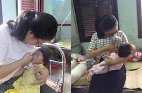 Nghẹn lòng cảnh em bé Lào Cai 14 tháng tuổi chỉ nặng 3,5 kg ngậm chặt bầu sữa các mẹ đến thăm