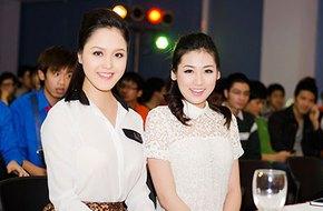 Hai Á hậu trẻ trung đọ dáng trong sắc trắng