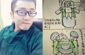 Cảm động nam bác sĩ trẻ vẽ tranh