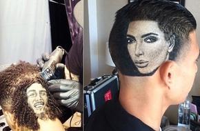 Dịch vụ lạ: cắt tóc kết hợp vẽ chân dung người nổi tiếng trên đầu