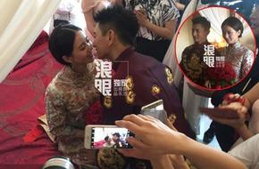 Ngô Kỳ Long quỳ gối hôn môi Lưu Thi Thi trong đám cưới