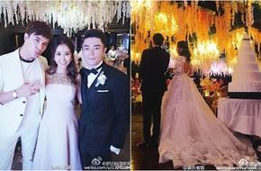 Lâm Tâm Như - Hoắc Kiến Hoa sánh bước trong tiệc cưới ngập tràn hoa tử đằng