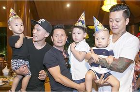 Tuấn Hưng đưa quý tử đến dự tiệc sinh nhật con trai Bằng Kiều
