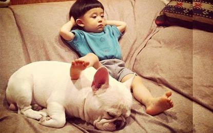 """Tình bạn ngọt lịm tim của nhóc tì """"đầu nấm"""" và cún cưng làm dân mạng điên đảo"""