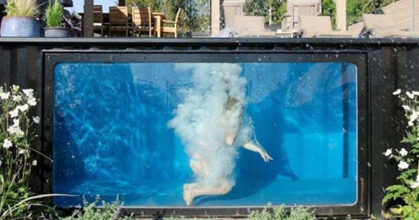 Bể bơi container nhỏ gọn, đẹp tuyệt dành cho nhà có sân vườn nhỏ