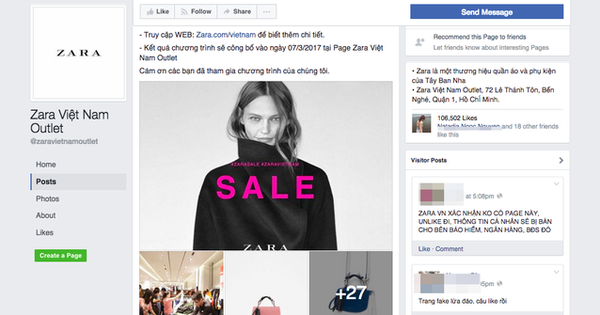 Thông tin về Zara Việt Nam Outlet, sale đồng giá 100.000 đồng hoàn toàn là lừa đảo!