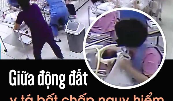 Giữa động đất, y tá bất chấp nguy hiểm, che chắn trẻ sơ sinh