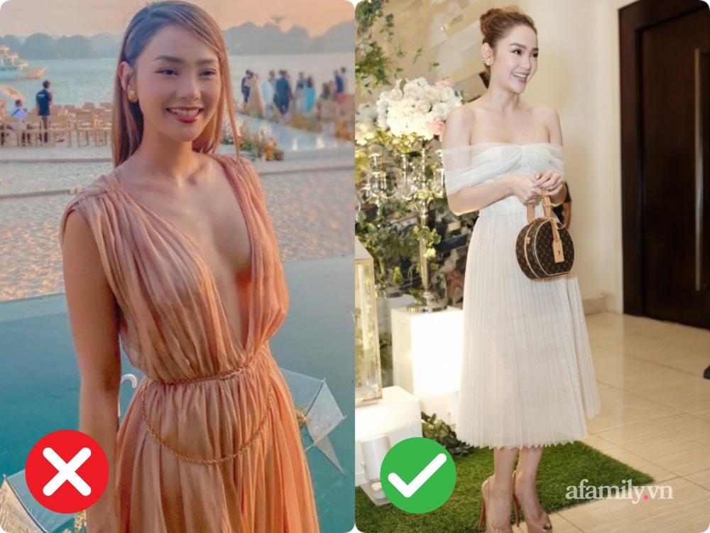 """2 lần Minh Hằng diện váy phô diễn vòng 1 khi đi đám cưới: Bộ váy diện tại lễ cưới Đông Nhi tưởng đâu nền nã hóa ra cũng nhiều phen """"hú hồn"""" - Ảnh 2."""
