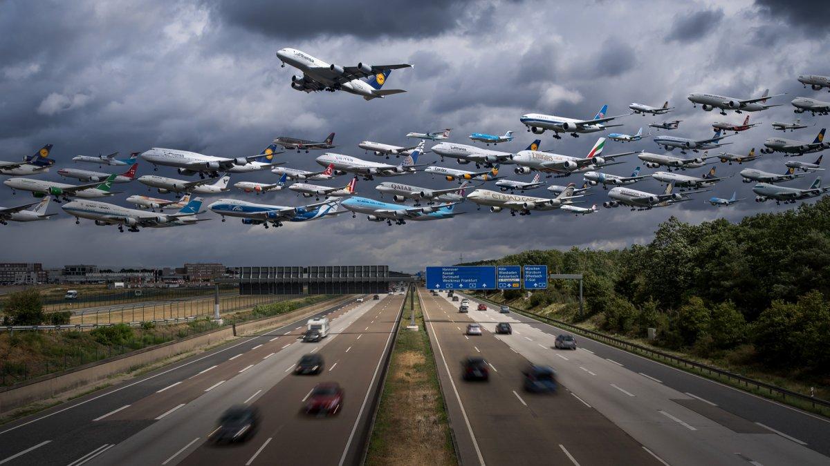 Với mỗi chiếc máy bay chúng ta nhìn thấy trong ảnh, Kelly phải chụp từ 10-15 shot ảnh mỗi chiếc