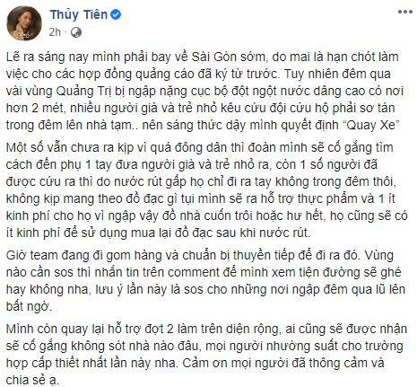 """Tính ra sân bay về Sài Gòn nhưng Thủy Tiên bất ngờ quyết định """"quay xe"""" ở lại vùng lũ vì điều này, thậm chí không dám nghe điện thoại của chồng - Ảnh 2."""
