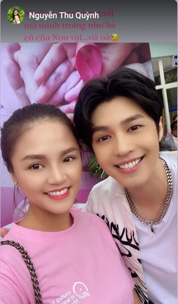 """Lần đầu chụp ảnh với trai đẹp Noo Phước Thịnh, Thu Quỳnh tự nhận mình là """"bà cô"""" của nam ca sĩ dù bằng tuổi - Ảnh 2."""