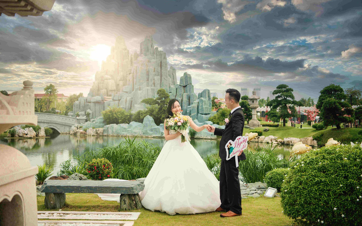 Ngất ngây với đám cưới siêu lãng mạn tại vườn Nhật giữa trời thu Hà Nội