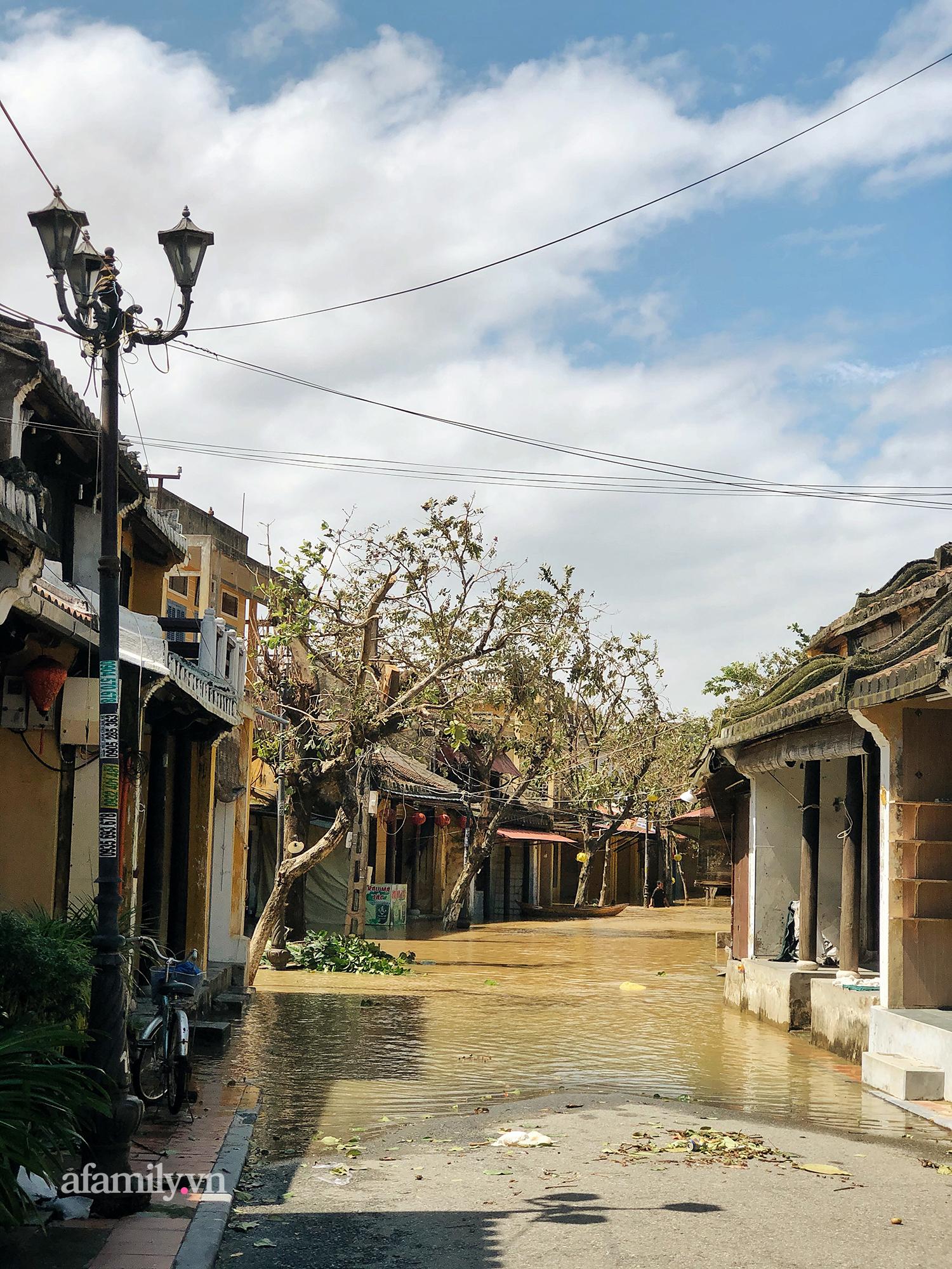 Hội An tan hoang sau bão số 9, những rặng hoa giấy rực rỡ ngày thường nay bỗng hóa xác xơ, nước sông Hoài dâng lên ngập cả nhiều tuyến đường trung tâm phố cổ - Ảnh 11.