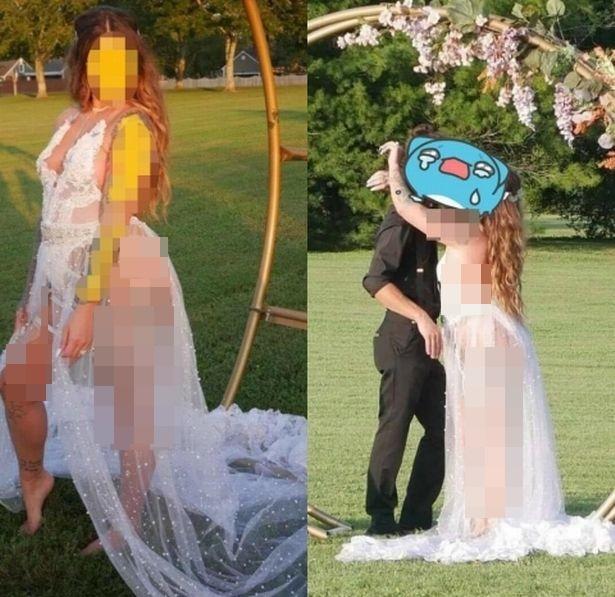 """Cô dâu gây xôn xao MXH với chiếc váy cưới khiến dân tình """"nóng mắt"""", quan khách cũng phải xấu hổ không dám nhìn - Ảnh 1."""