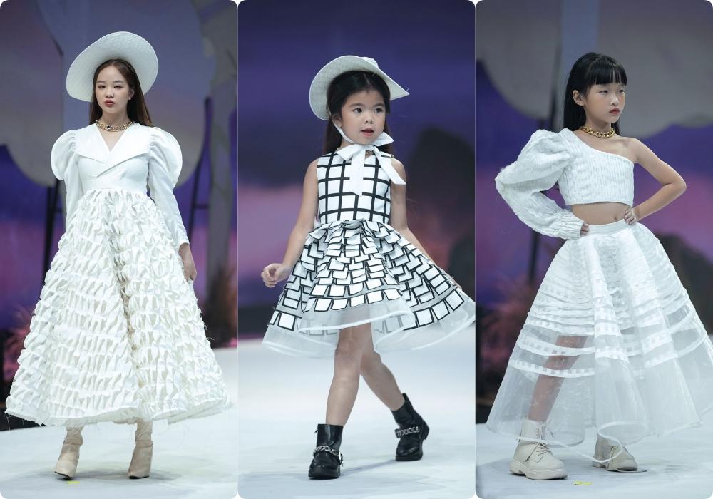 """Lần đầu tiên đưa """"quý tử"""" lên sàn catwalk, vợ chồng Lương Thế Thành - Trúc Diễm khép lại Tuần lễ thời trang trẻ em 2020 - Ảnh 14."""