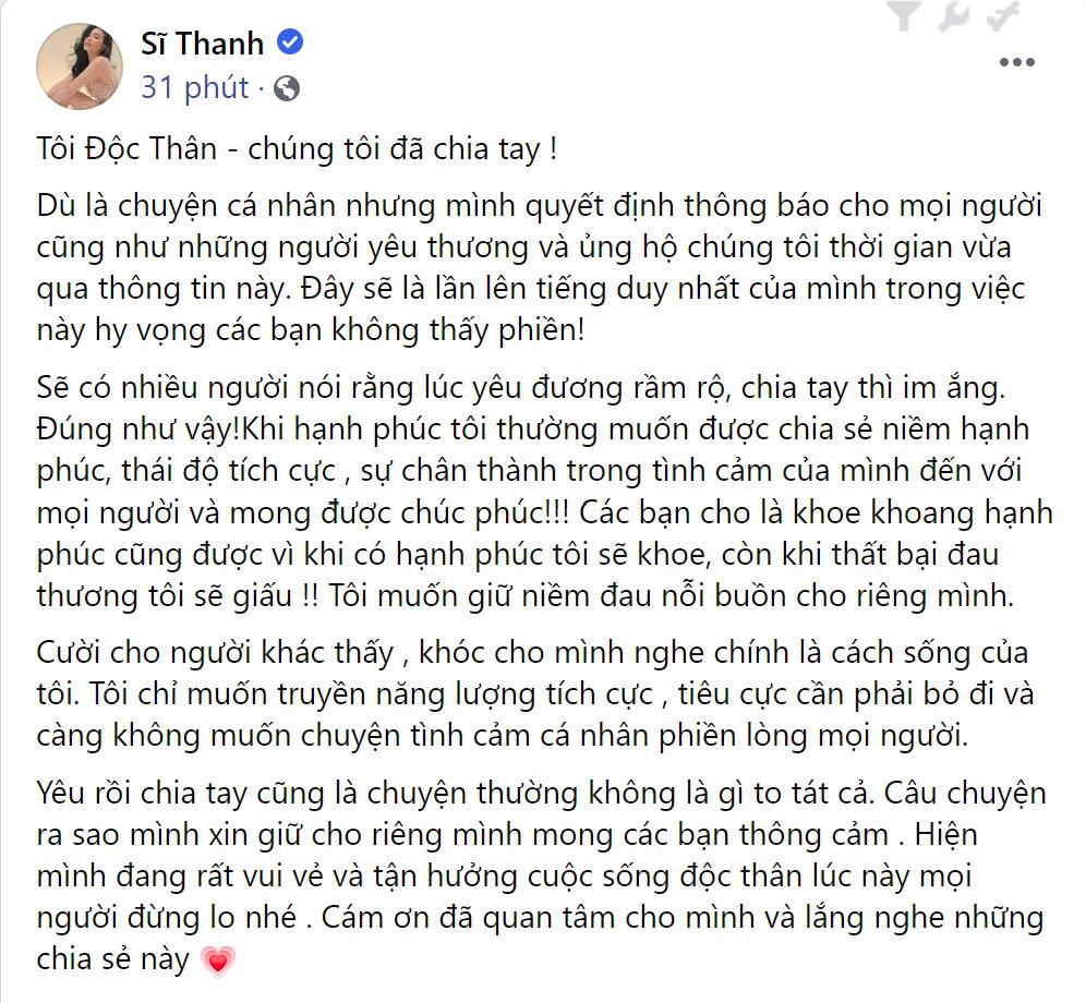 Nóng: Sĩ Thanh chính thức chia tay Huỳnh Phương sau hơn 1 năm yêu nhau - Ảnh 2.