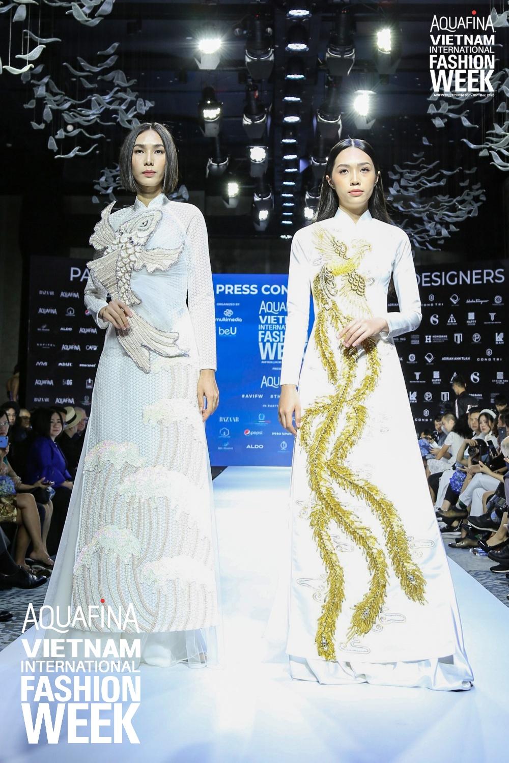 Họp báo Aquafina Tuần lễ thời trang Quốc tế Việt Nam: Phương Mai khoe vòng 1 thách thức, hé lộ mẫu thiết kế trong BST mở màn đến từ NTK Công Trí - Ảnh 10.
