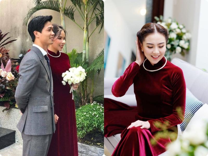 """Lên xe hoa cách nhau 4 năm, cô dâu của Công Phượng bất ngờ giống """"y chang"""" Mai Ngọc khi diện áo dài nhung đỏ trong ngày trọng đại - Ảnh 3."""