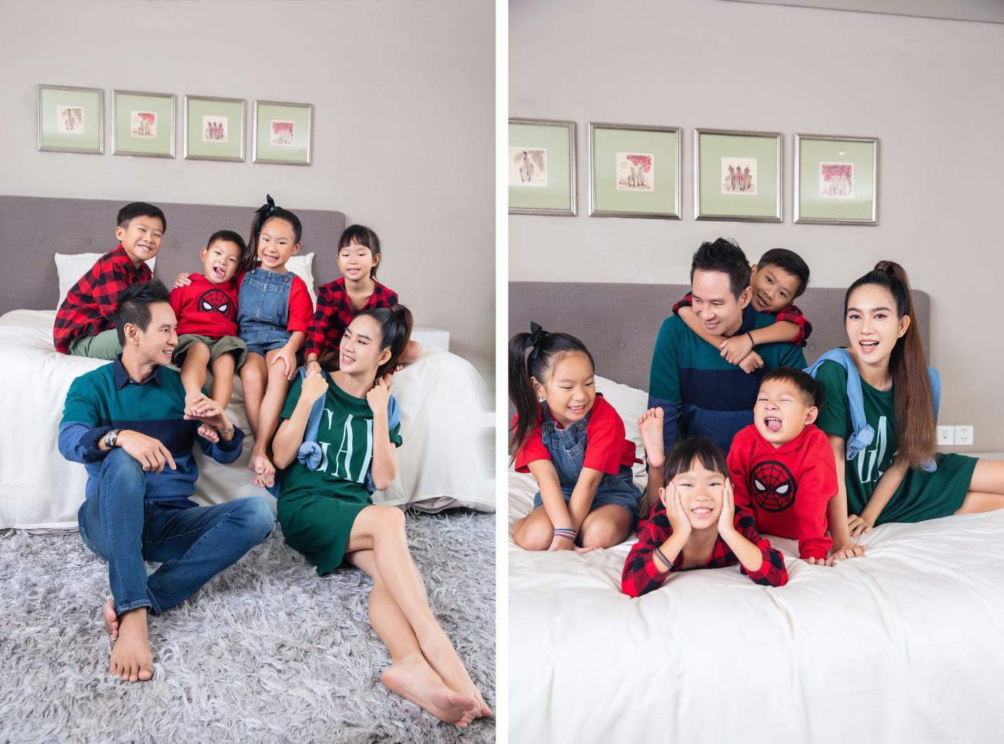 Vợ chồng Lý Hải - Minh Hà cùng 4 nhóc tì xuất hiện như fashionista trong BST Holiday của GAP - Ảnh 1.